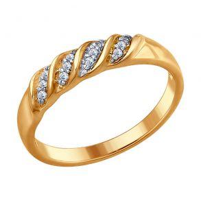 Кольцо из золочёного серебра с фианитами 93010671 SOKOLOV