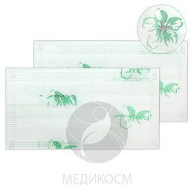 Маска спанбонд, трёхслойная с фикатором - размер 18x9 - 50 штук, рисунок нежный цветок, зелёный НЕТ В НАЛИЧИИ
