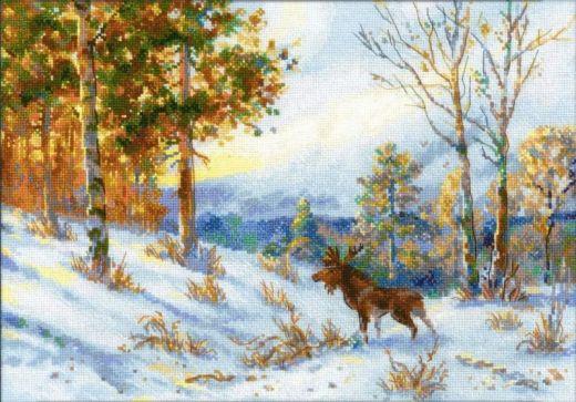 Набор для вышивания крестом Лось в зимнем лесу №1528 фирма Риолис