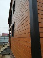Фасад из бруса пропитан масло-воском Сигма-Декор Премиум, клён, торцы - цвет венге.