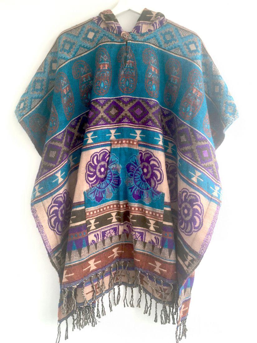 Голубое с фиолетовым непальское пончо, унисекс (Москва)