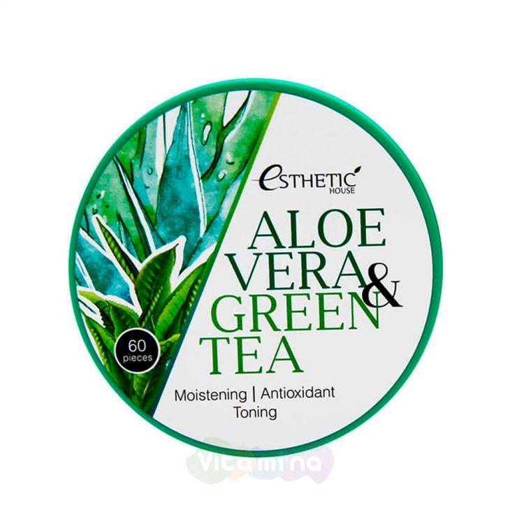 Esthetic House Увлажняющие гидрогелевые патчи для век с алоэ и зелёным чаем Aloe Vera & Green Tea Hydrogel Eye Patch, 60 шт