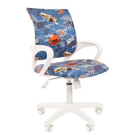 Кресло детское Chairman Kids 103, PL белый, ткань велюр, механизм качания спинки