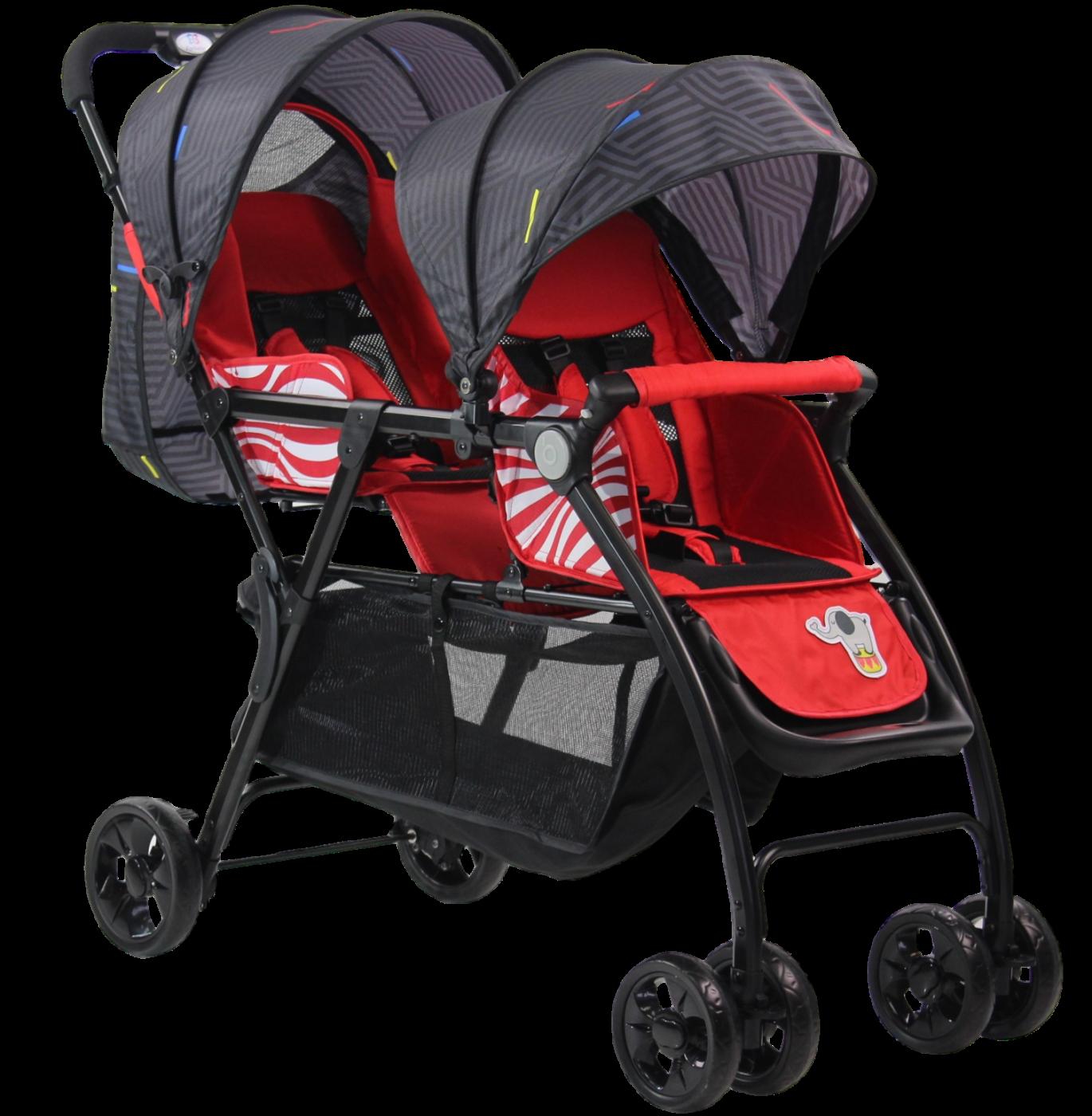 Детская прогулочная коляска для двойни (2020) Vivid Plus красный