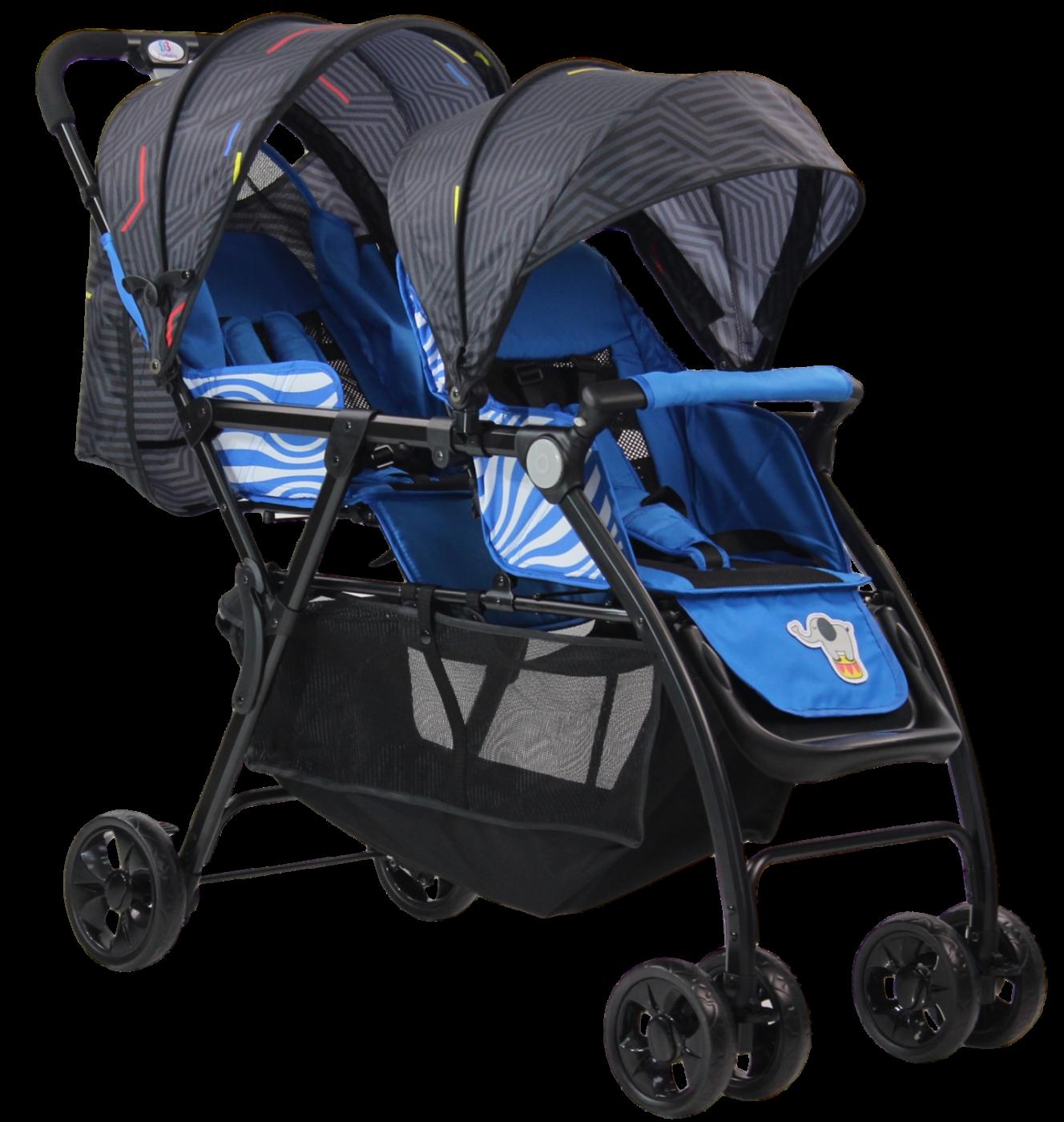 Детская прогулочная коляска для двойни (2020) Vivid Plus Синий