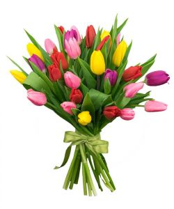 Тюльпаны букет 21шт в ассортименте