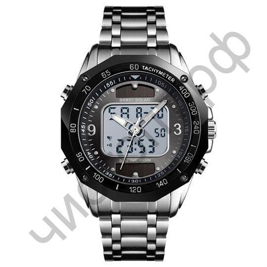 Часы наручные Skmei 1493 серебро заряд от солнца двойное время ,подсветка ,таймер , будильник Высокое качество Водонепроницаемые !