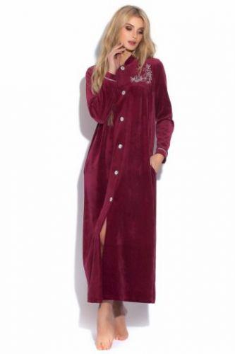 Женский велюровый халат Aurore темная вишня