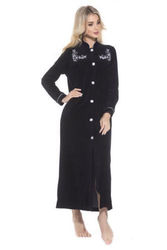 Черный женский велюровый халат на пуговицах Aurore