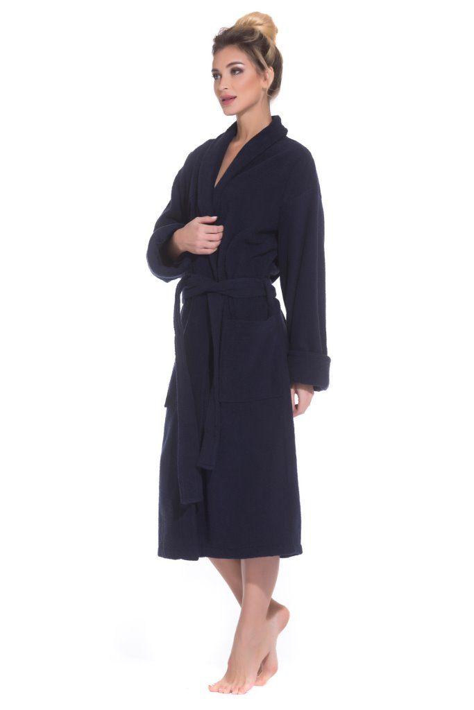 50178b0f8d37 Женский махровый халат Deep Blue (E 363) тёмно-синий купить в ...