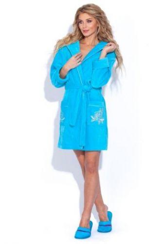 Женский махровый халат с капюшоном Le Rose бирюзовый