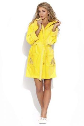Короткий махровый женский халат Le Rose лимонный