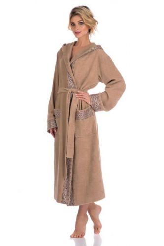 Женский махровый халат с капюшоном La Reine бежевый