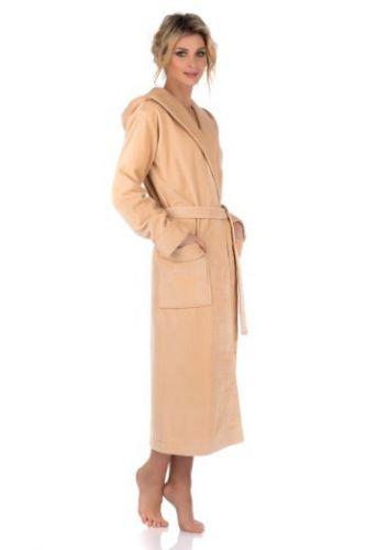 Женский махровый халат с капюшоном Une Beaute бежевый