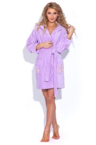 Женский махровый халат с капюшоном Le Rose лиловый
