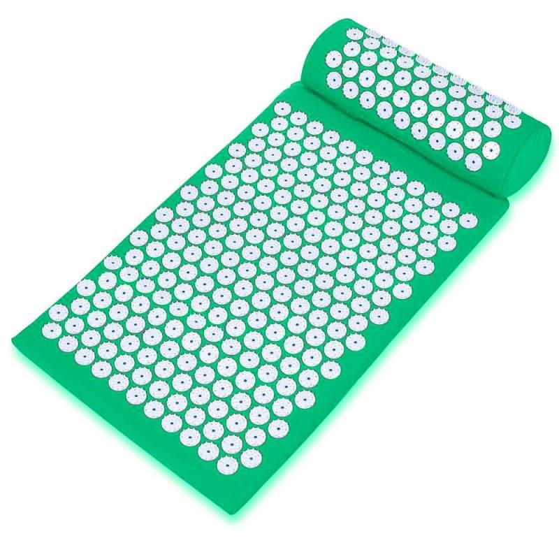 Массажный акупунктурный комплект из коврика и валика Acupressure Mat, зеленый