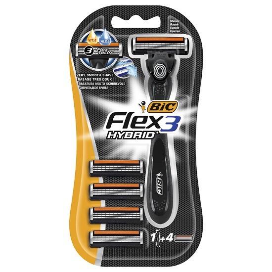 Bic Flex 3 Hybrid сменные кассеты (4 шт) + бритва, промо-набор