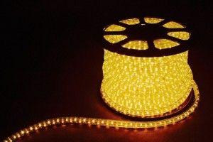 Дюралайт (световая нить) со светодиодами, 2W 100м 230V 36LED/м 13мм, желтый, LED-R2W 26062