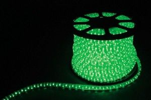 Дюралайт (световая нить) со светодиодами, 2W 100м 230V 36LED/м 13мм, зеленый, LED-R2W 26063