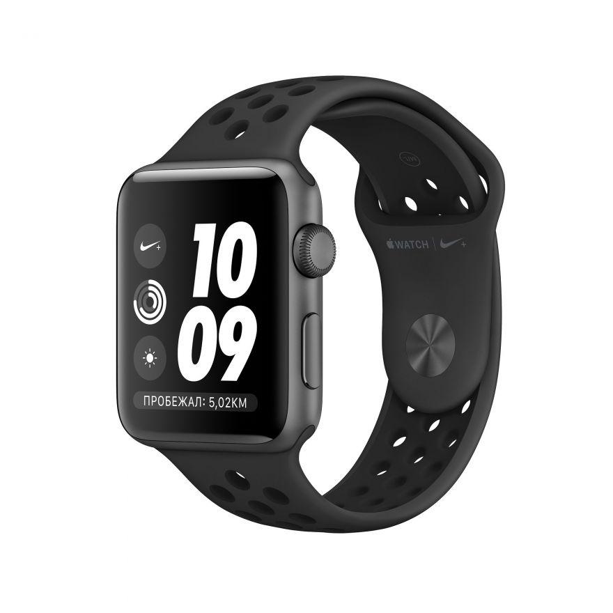 Apple Watch Nike+, 42 мм, Корпус из алюминия цвета «серый космос», спортивный ремешок Nike цвета «антрацитовый/чёрный»