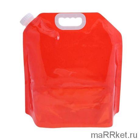 Складная канистра для воды с вакуумным клапаном (5 л, красный)