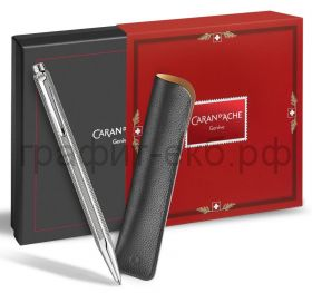 Ручка шариковая Caran d'Ache Ecridor Christmas Seasons Greeting латунь, палладий + чехол CC0890.018