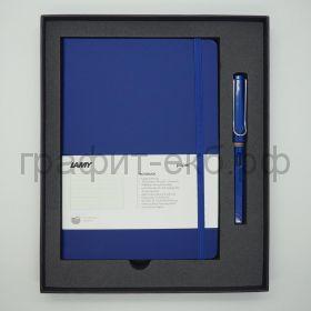 Набор Lamy Safari Ручка перьевая F+ книжка записная А5 синий
