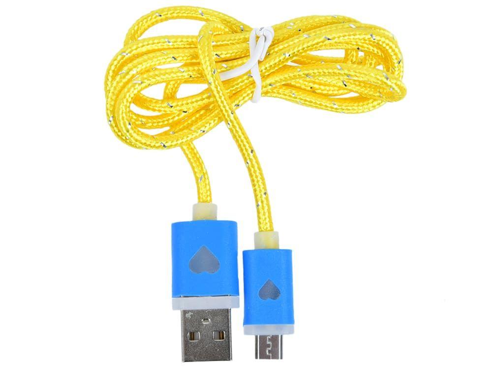 Кабель Gmini GM-LDC-200YA, USB-microUSB с индикатором заряда, 1м, жёлтый