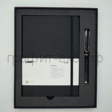 Набор Lamy Safari Ручка перьевая F + книжка записная А5 черный