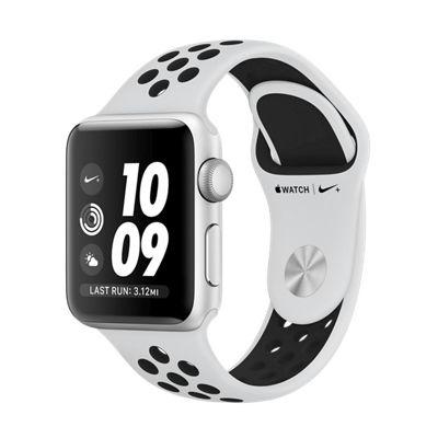 Apple Watch Nike+, 38 мм, корпус из серебристого алюминия, спортивный ремешок Nike цвета чистая платина/черный