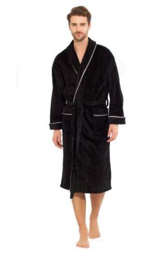 Черный мужской махровый халат Elegant