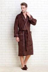 Мужской махровый халат Strong Man темно-шоколадный