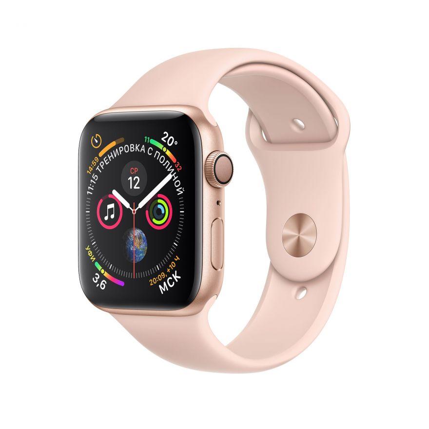 Apple Watch, 44 мм, Корпус из алюминия золотого цвета, спортивный ремешок цвета «розовый песок»