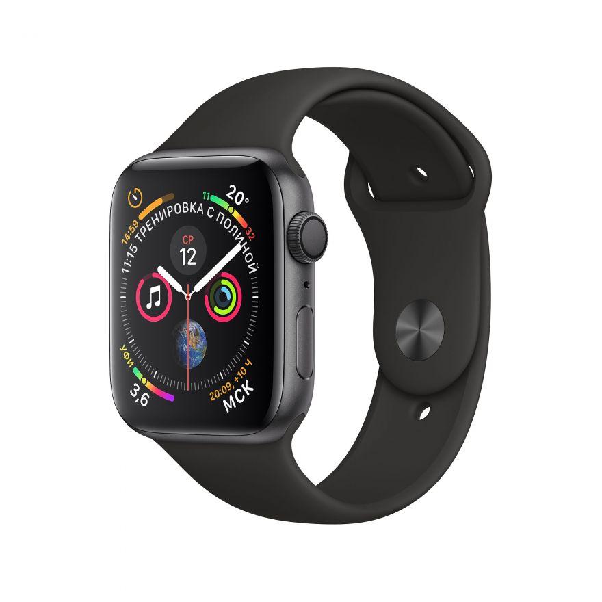 Apple Watch, 44 мм, Корпус из алюминия цвета «серый космос», спортивный ремешок чёрного цвета