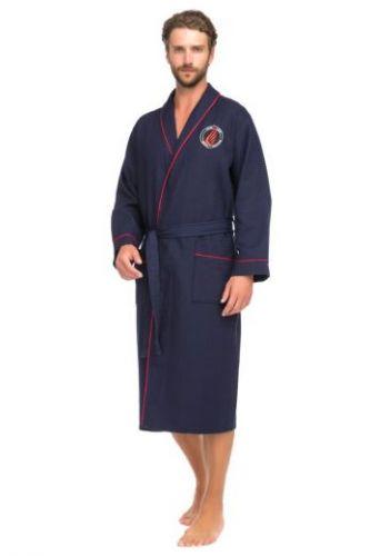 Мужской вафельный халат Supreme синий