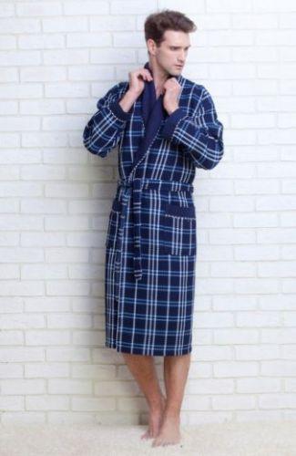 Мужской вафельный халат Gentelmen Style синий