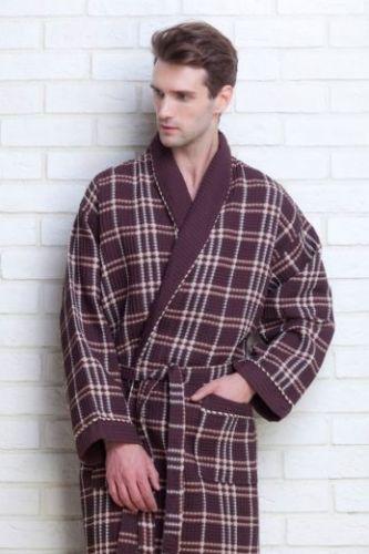 Мужской вафельный халат Gentelmen Style шоколадный