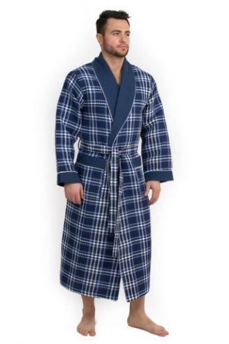 Мужской вафельный халат Style синий