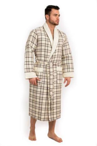 Мужской вафельный халат Style кремовый
