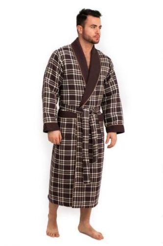 Мужской вафельный халат Style коричневый
