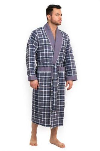 Мужской вафельный халат Style серый