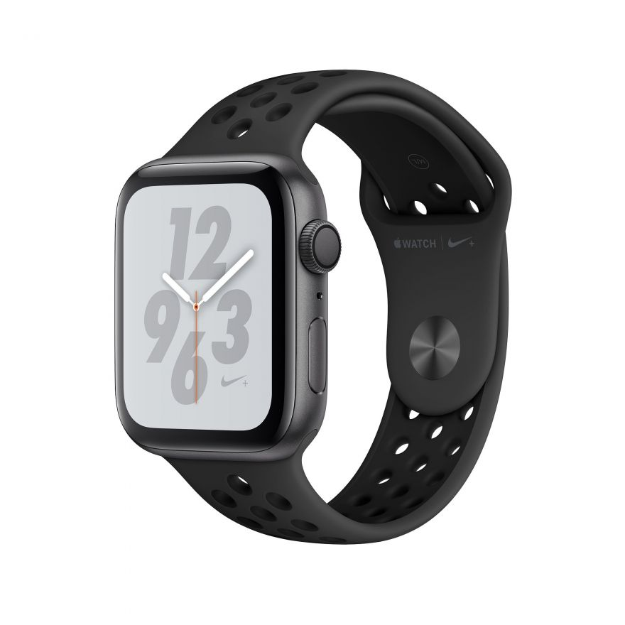 Apple Watch Nike+, 44 мм, Корпус из алюминия серебристого цвета, спортивный ремешок Nike цвета «чистая платина/чёрный»