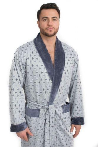Мужской велюровый халат Cristof (EPP M122) серый