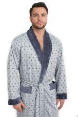 Велюровый мужской халат Cristof серый