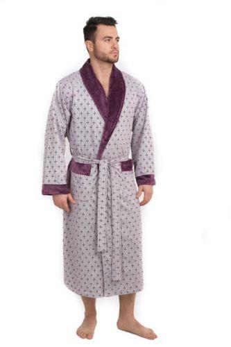 Велюровый мужской халат Cristof сливовый