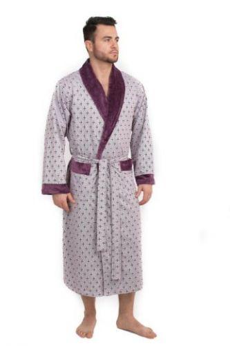 Мужской велюровый халат Cristof сливовый