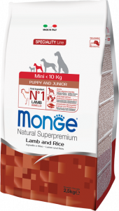 Monge Dog Speciality Mini корм для щенков мелких пород с ягненком и рисом 2,5 кг.