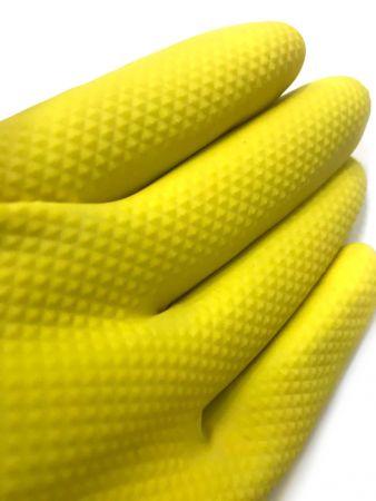Перчатки хозяйственные, жёлтые, размер S,M,L,XL- 12 пар.