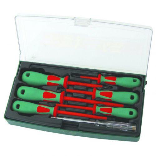 DV13PP07S Набор отверток диэлектрических PH# 0х60, 1х80, 2х100, SL 4х100, 5,5х125, 6,5х150, индикаторная отвертка 220-250V, 7 предметов