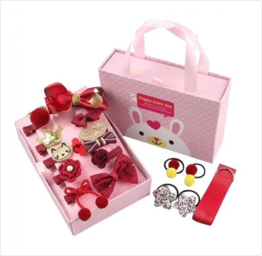 Подарочный набор заколок для девочек, 18 предметов, Цвет Красный